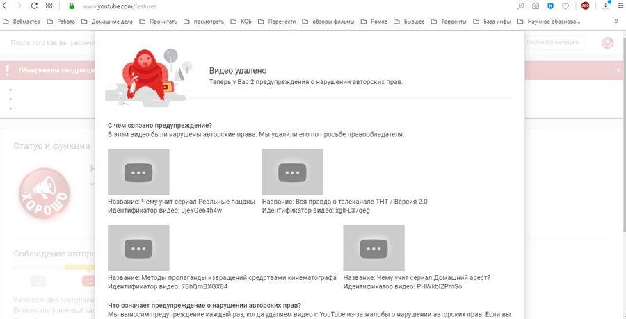 po trebovaniyu gazprom media По требованию Газпром Медиа 6 обзоров проекта Научи хорошему про ТНТ заблокировали на YouTube